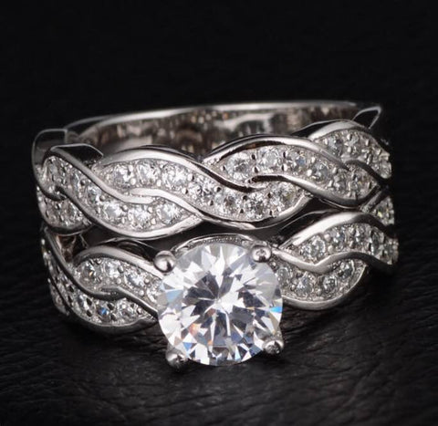 Wedding Rings Set High Quality White Gold Plated  CZ Diamond Engagement - The Accessory Nook  - 1