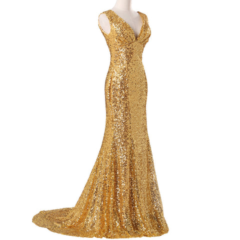 Luxury Long Gold Evening Sequin Mermaid Bridesmaid Prom Formal Dress Gown with Back Corset - The Accessory Nook  - 3