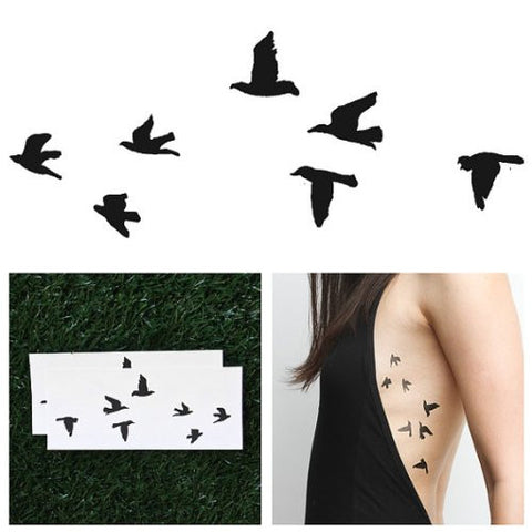 Flock Birds Trendy Black Temporary Fashion Realistic Epic Statement Tattoo Set of 2 - The Accessory Nook