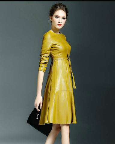 Yellow Winter Long Sleeve Faux Leather Fashion Trendy Belted Midi Dress - The Accessory Nook  - 1