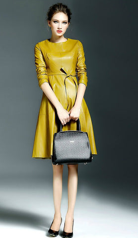Yellow Winter Long Sleeve Faux Leather Fashion Trendy Belted Midi Dress - The Accessory Nook  - 2