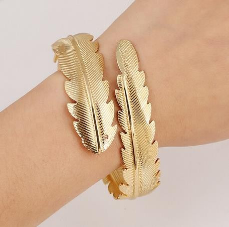 Fashion Leaf Bangle Bracelet Women's Stylish Bangle Hot Trendy Jewelry - The Accessory Nook  - 1