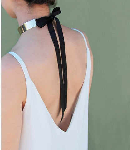 Statement Fashion Jewelry Tuxedo Polished Bar and Grosgrain Ribbon Choker - The Accessory Nook  - 1