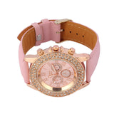 Big Dial Quartz Watches Round Analog Women Rhinestone Round Wrist Watch - The Accessory Nook  - 2