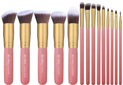 14pc Kabuki Makeup Brush Set Cosmetics Beauty Foundation Blending Contouring - The Accessory Nook  - 1