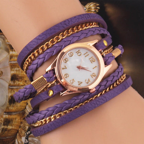 Purple Multilayer Faux Leather Strap Band Women Bracelet Quartz Wrist Watch - The Accessory Nook