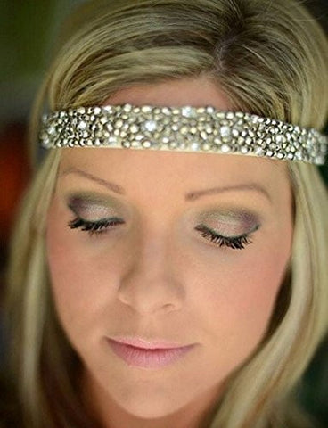 Bridal Rhinestone Beaded Headband with Metallic Beads and Elastic Fashion Wedding Hair Accessory - The Accessory Nook  - 1