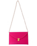 Leather Envelope Clutch Epic Pockebook with optionl Chain Sholder Strap - Hot Pink - The Accessory Nook  - 2