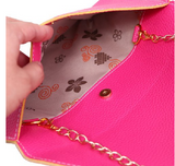 Leather Envelope Clutch Epic Pockebook with optionl Chain Sholder Strap - Hot Pink - The Accessory Nook  - 3