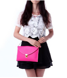 Leather Envelope Clutch Epic Pockebook with optionl Chain Sholder Strap - Hot Pink - The Accessory Nook  - 4
