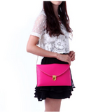 Leather Envelope Clutch Epic Pockebook with optionl Chain Sholder Strap - Hot Pink - The Accessory Nook  - 5