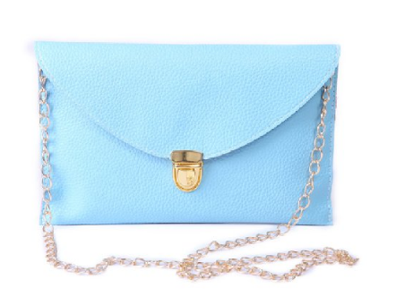 Leather Envelope Clutch Epic Pockebook with  Chain Sholder Strap - Baby Blue - The Accessory Nook  - 1