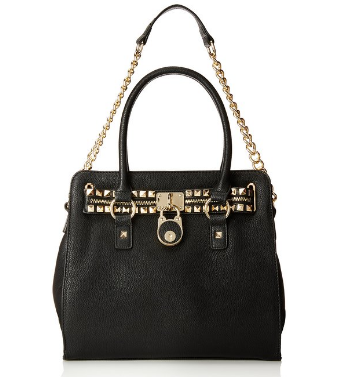 Studded Black Structured Satchel Shoulder Trendy Tote Zippered Handbag - The Accessory Nook  - 1