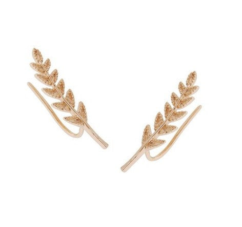 Chic Delicate Leaf Branch Stud Gold Tone Fashion Statement Trendy Earrings - The Accessory Nook  - 1