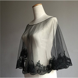 Wedding Cape Evening Wrap Shoulder Covers Lace Edge in Elegant Black - The Accessory Nook  - 2