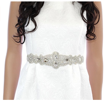 Bridal Crystal Wedding Dress Sash Belt with Rhinestone & Ribbon in Off White - The Accessory Nook  - 1