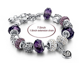 Silver Plated Chain Purple Glass Crystal Beads Heart Charm Bracelet for Women - The Accessory Nook  - 2