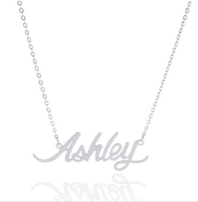 Ashley Name Plate Silver Pendant Chic Ladies Trendy Necklace Stainless Steel - The Accessory Nook  - 1