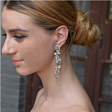 Formal Elegant  Austrian Rhinestone Crystal Dangle Earrings Silver-Tone - The Accessory Nook  - 2