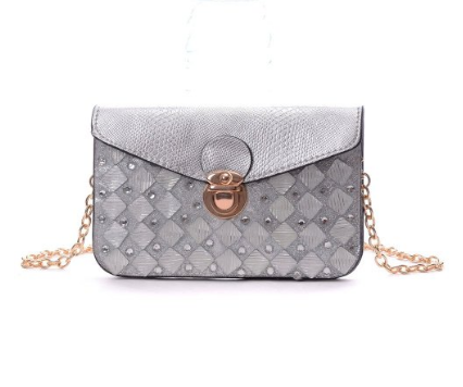 Gray Silver Envelope Clutch Epic Trendy Handbag with Shoulder Strap - The Accessory Nook  - 1