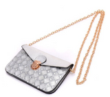 Gray Silver Envelope Clutch Epic Trendy Handbag with Shoulder Strap - The Accessory Nook  - 2