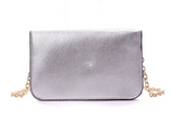 Gray Silver Envelope Clutch Epic Trendy Handbag with Shoulder Strap - The Accessory Nook  - 3