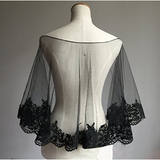Wedding Cape Evening Wrap Shoulder Covers Lace Edge in Elegant Black - The Accessory Nook  - 3