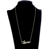 Lauren Name Plate Golden Pendant Chic Gift Ladies Trendy Necklace Gold Plated - The Accessory Nook  - 2
