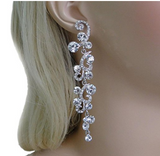 Formal Elegant  Austrian Rhinestone Crystal Dangle Earrings Silver-Tone - The Accessory Nook  - 3