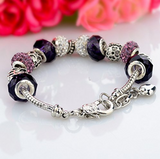 Silver Plated Chain Purple Glass Crystal Beads Heart Charm Bracelet for Women - The Accessory Nook  - 3