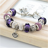 Silver Plated Chain Purple Glass Crystal Beads Heart Charm Bracelet for Women - The Accessory Nook  - 4