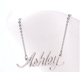Ashley Name Plate Silver Pendant Chic Ladies Trendy Necklace Stainless Steel - The Accessory Nook  - 3
