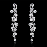 Formal Elegant  Austrian Rhinestone Crystal Dangle Earrings Silver-Tone - The Accessory Nook  - 4