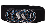 Fashion Fancy Beaded Floral Rhinestone Trendy Runway Buckle Elastic Waist Belt - The Accessory Nook  - 1