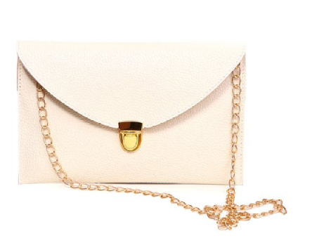 Leather Envelope Clutch Epic Pockebook with optionl Chain Sholder Strap - Cream - The Accessory Nook  - 1