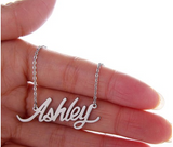 Ashley Name Plate Silver Pendant Chic Ladies Trendy Necklace Stainless Steel - The Accessory Nook  - 4