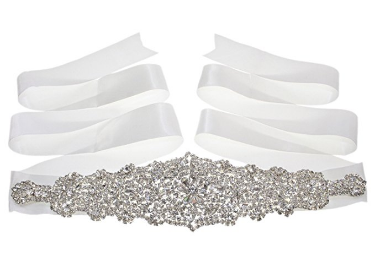 Dazzling Elegant Off White Crystal Beaded Wedding Sash Belt with Satin Ribbon - The Accessory Nook  - 1