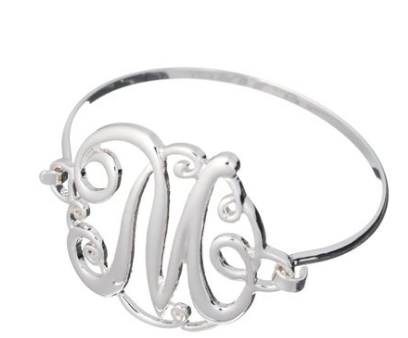 Monogram Initial Fashion Silver -Tone Wire Bracelet with Gift Box - The Accessory Nook  - 1