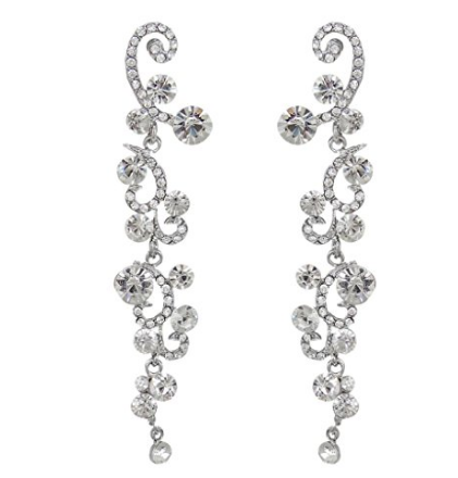 Formal Elegant  Austrian Rhinestone Crystal Dangle Earrings Silver-Tone - The Accessory Nook  - 1