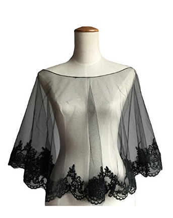 Wedding Cape Evening Wrap Shoulder Covers Lace Edge in Elegant Black - The Accessory Nook  - 1