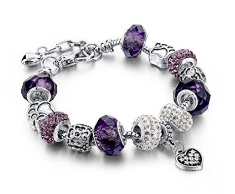 Silver Plated Chain Purple Glass Crystal Beads Heart Charm Bracelet for Women - The Accessory Nook  - 1