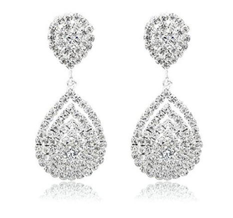 Crystal Dangle Fashion 3D Earring Silver Plated Rhinestone Bridal Prom Formal - The Accessory Nook  - 1