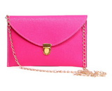 Leather Envelope Clutch Epic Pockebook with optionl Chain Sholder Strap - Hot Pink - The Accessory Nook  - 1