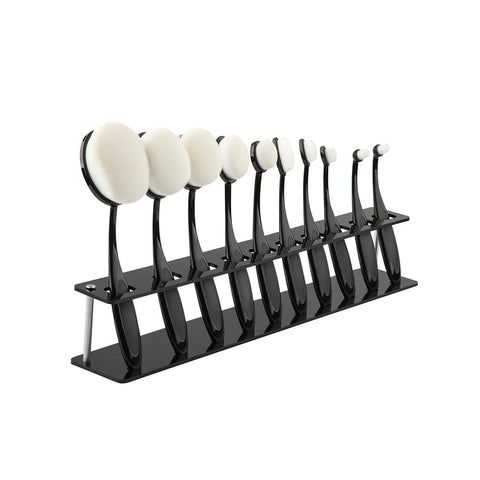 10 PCS Oval Brush Storage Organizer Black Sturdy Clear Acrylic Cosmetic Display - The Accessory Nook  - 1