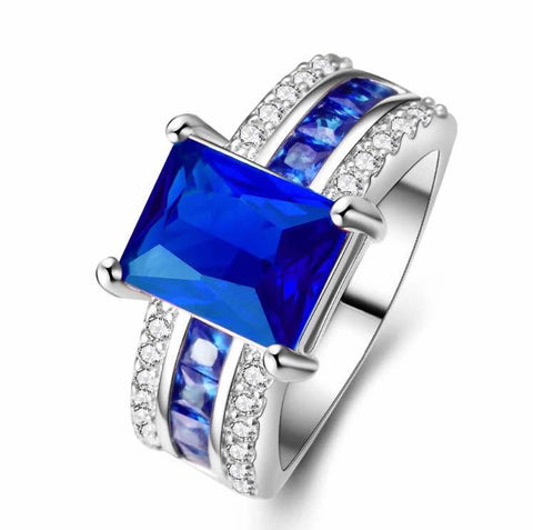 CZ Diamond Sapphire White Platinum Plated Engagement Fashion Ring - The Accessory Nook  - 1
