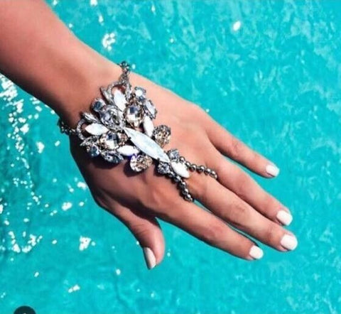 Womens Finger Bracelet Bohemian Gypsy Style with Gem Hand Chain - The Accessory Nook  - 1