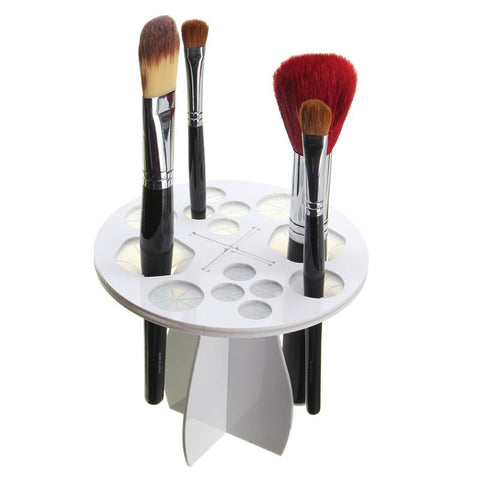Plastic Cosmetic Dryer Makeup Beauty Brushes Storage Organization Holder Stand  - White - The Accessory Nook
