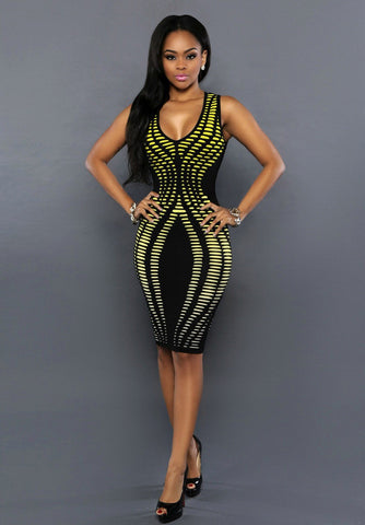 Yellow & Black Trendy Bodycon Sleveless Party Pencil Dress - The Accessory Nook