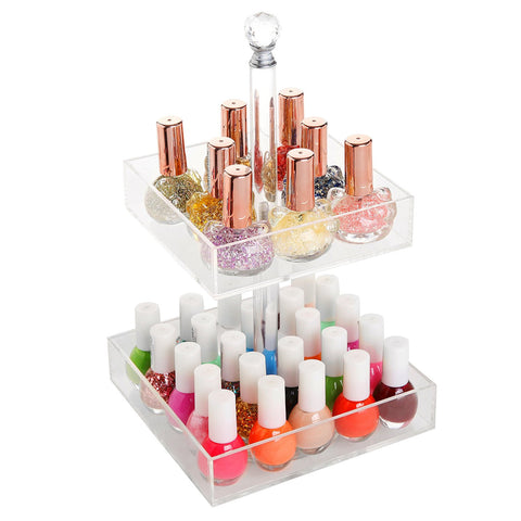 Rotating Clear Acrylic 2 Tier Nail Polish Cosmetics Organizer Display Rack Stand - The Accessory Nook  - 1