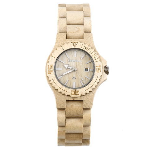 Women's Wooden Wrist Watch Quartz Fashion Wood Design Analog with Date Display - The Accessory Nook  - 1